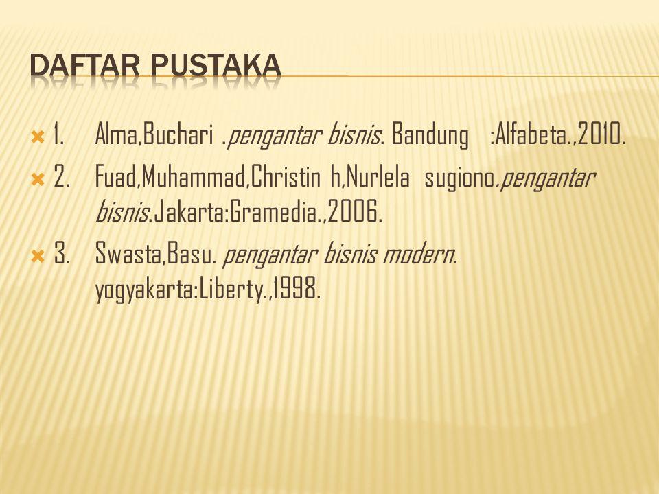 Daftar pustaka 1. Alma,Buchari .pengantar bisnis. Bandung :Alfabeta.,2010.