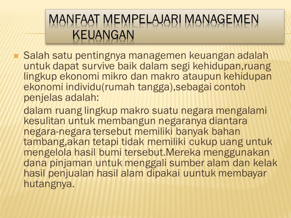 Manfaat mempelajari Managemen Keuangan