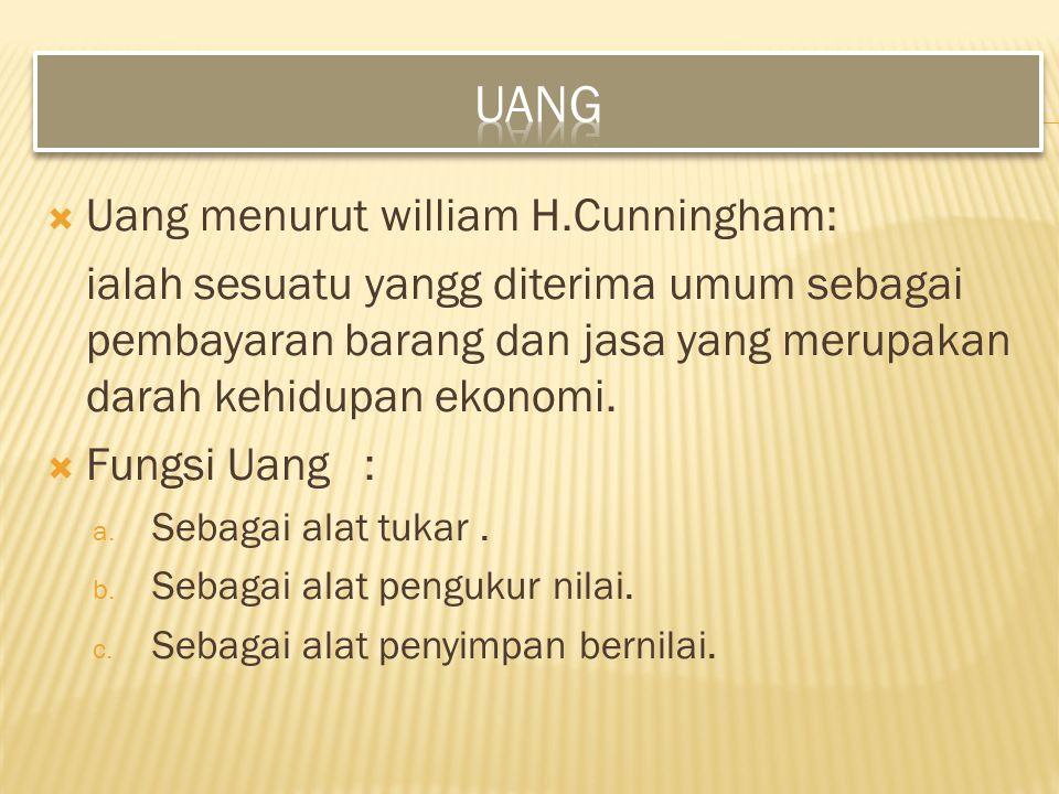 Uang Uang menurut william H.Cunningham:
