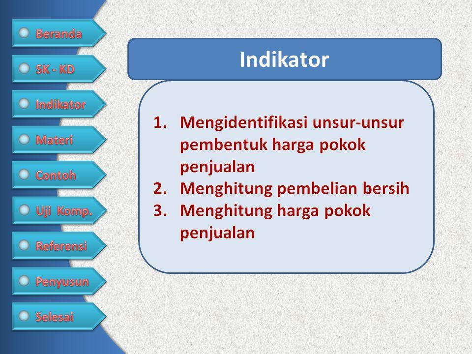 Indikator Mengidentifikasi unsur-unsur pembentuk harga pokok penjualan