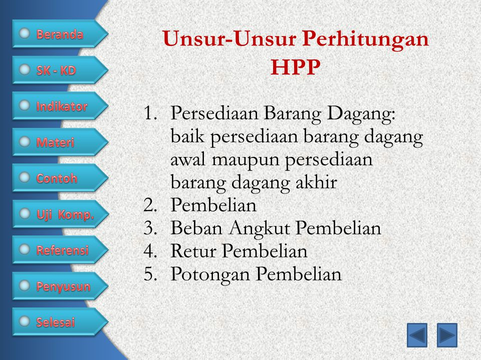 Unsur-Unsur Perhitungan HPP