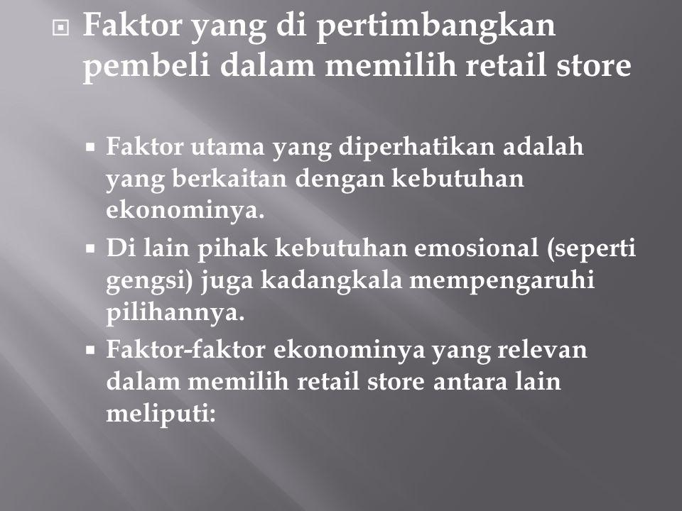 Faktor yang di pertimbangkan pembeli dalam memilih retail store