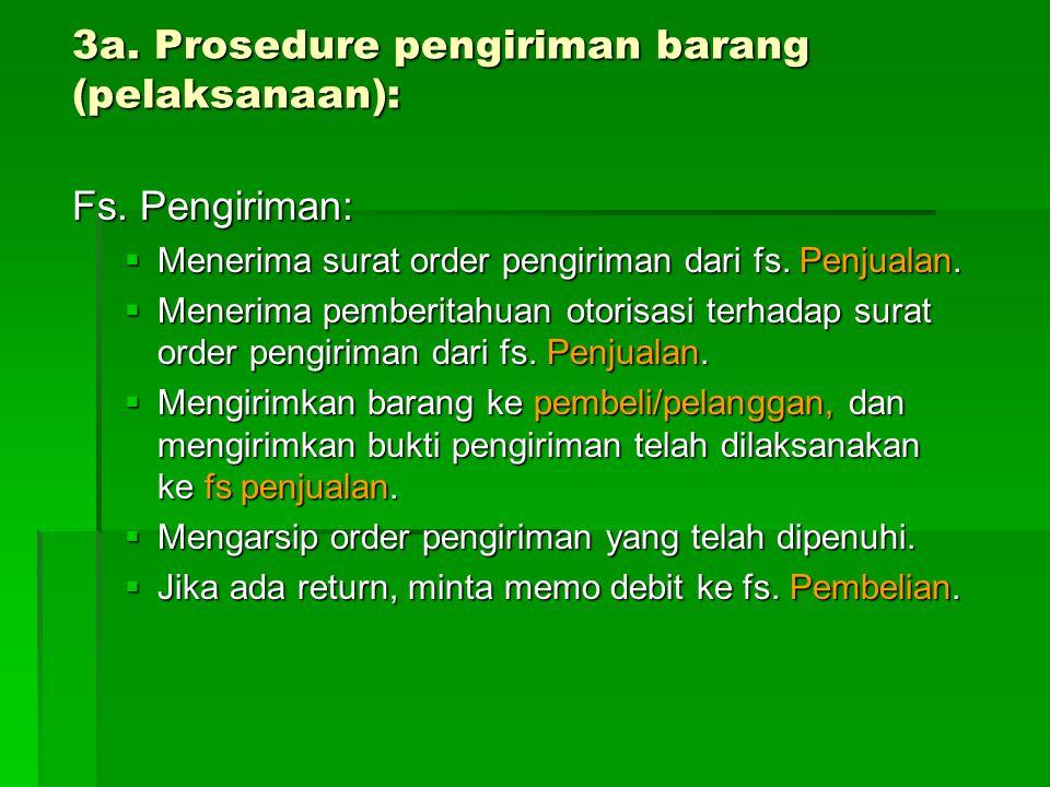 3a. Prosedure pengiriman barang (pelaksanaan):