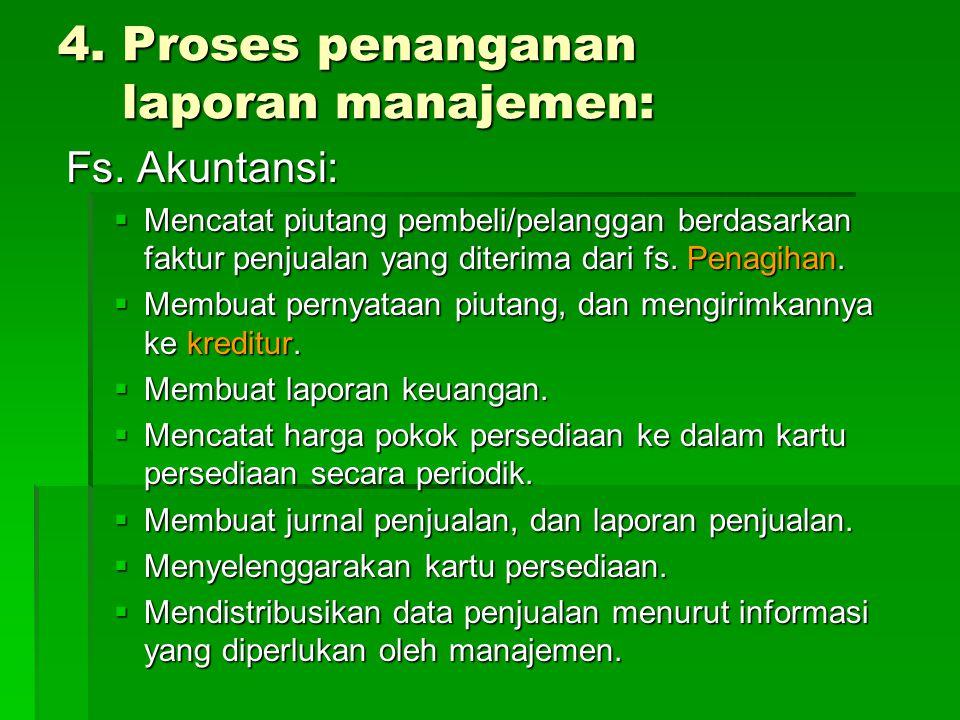 4. Proses penanganan laporan manajemen:
