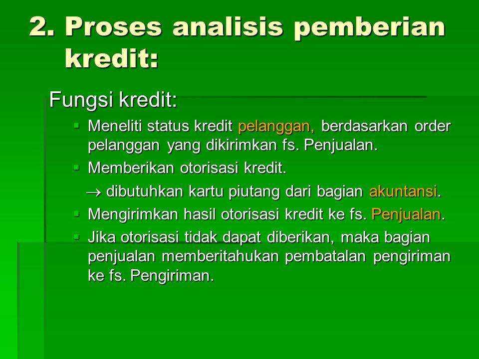 2. Proses analisis pemberian kredit: