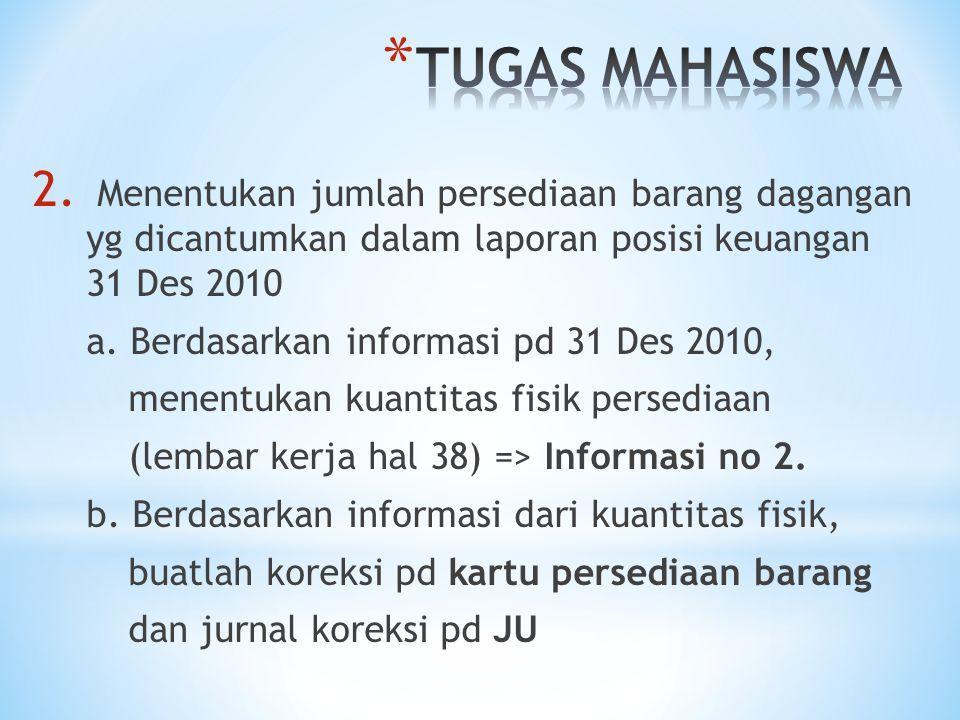 TUGAS MAHASISWA Menentukan jumlah persediaan barang dagangan yg dicantumkan dalam laporan posisi keuangan 31 Des 2010.