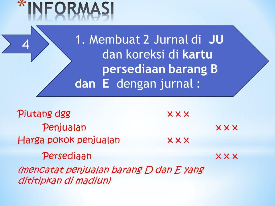 INFORMASI 4. 1. Membuat 2 Jurnal di JU dan koreksi di kartu persediaan barang B dan E dengan jurnal :