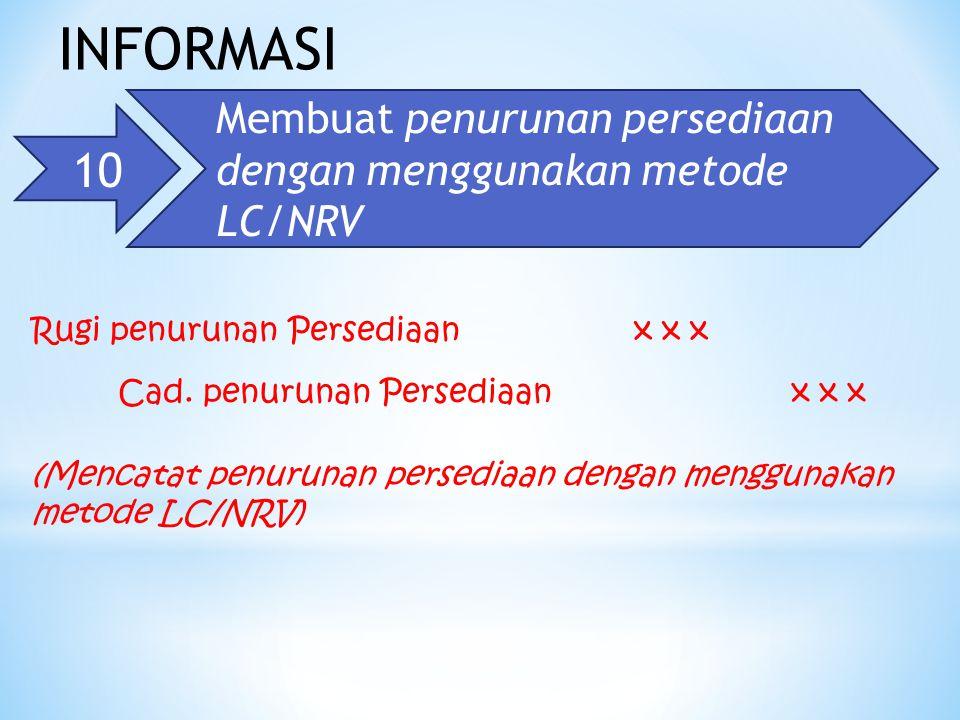 INFORMASI Membuat penurunan persediaan dengan menggunakan metode LC/NRV. 10. Rugi penurunan Persediaan.