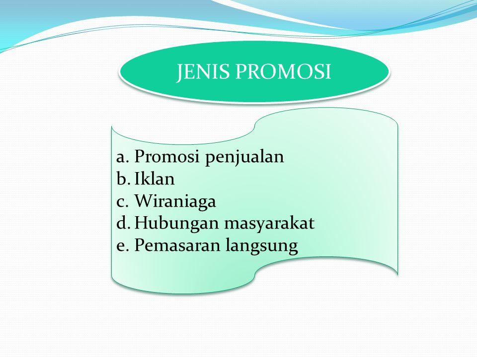 JENIS PROMOSI Promosi penjualan Iklan Wiraniaga Hubungan masyarakat