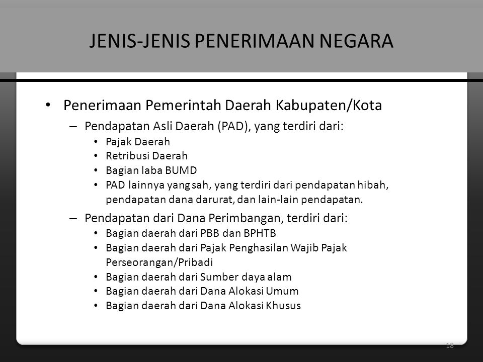 JENIS-JENIS PENERIMAAN NEGARA