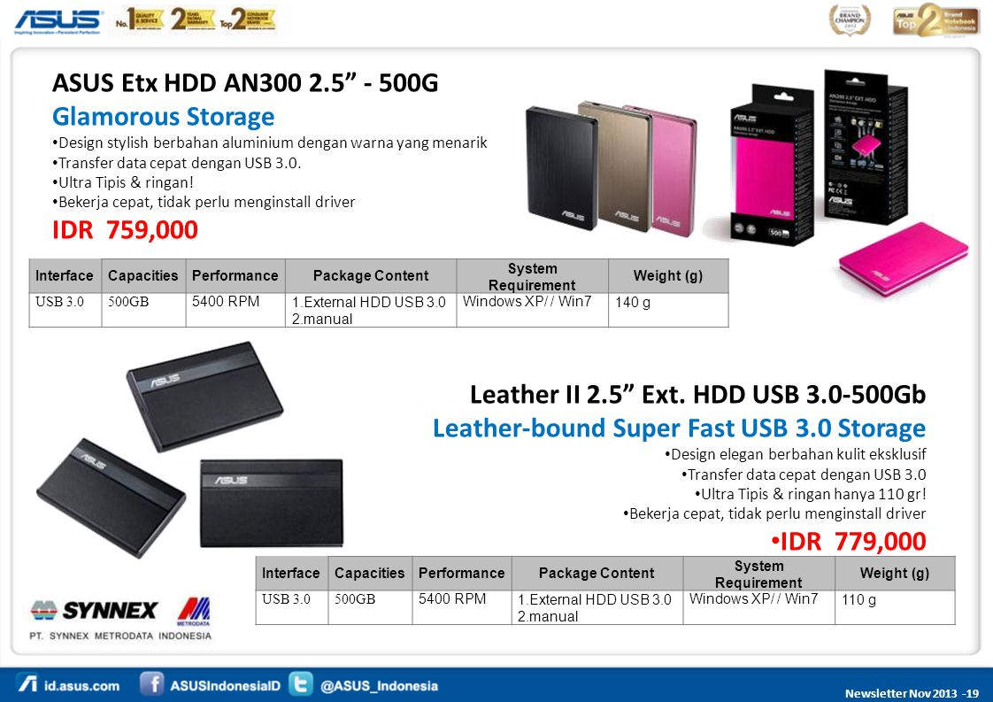 Leather II 2.5 Ext. HDD USB 3.0-500Gb
