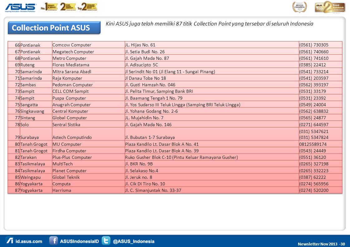 Kini ASUS juga telah memiliki 87 titik Collection Point yang tersebar di seluruh Indonesia
