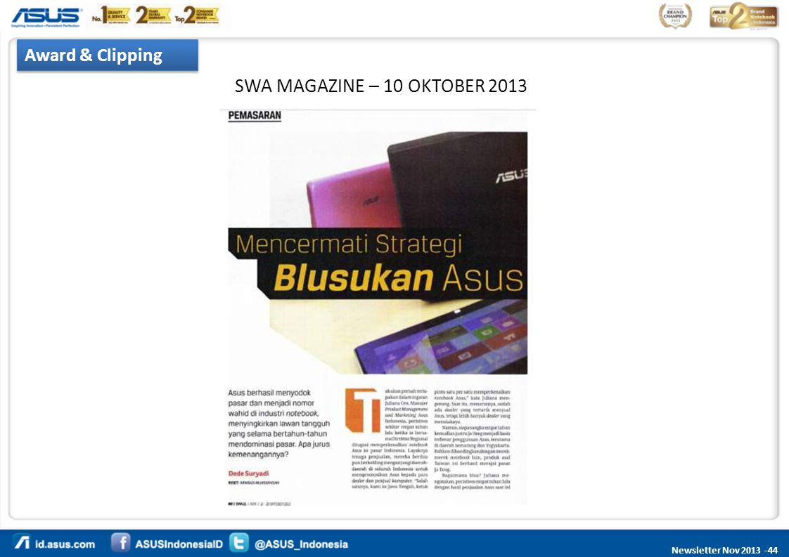 Award & Clipping SWA MAGAZINE – 10 OKTOBER 2013