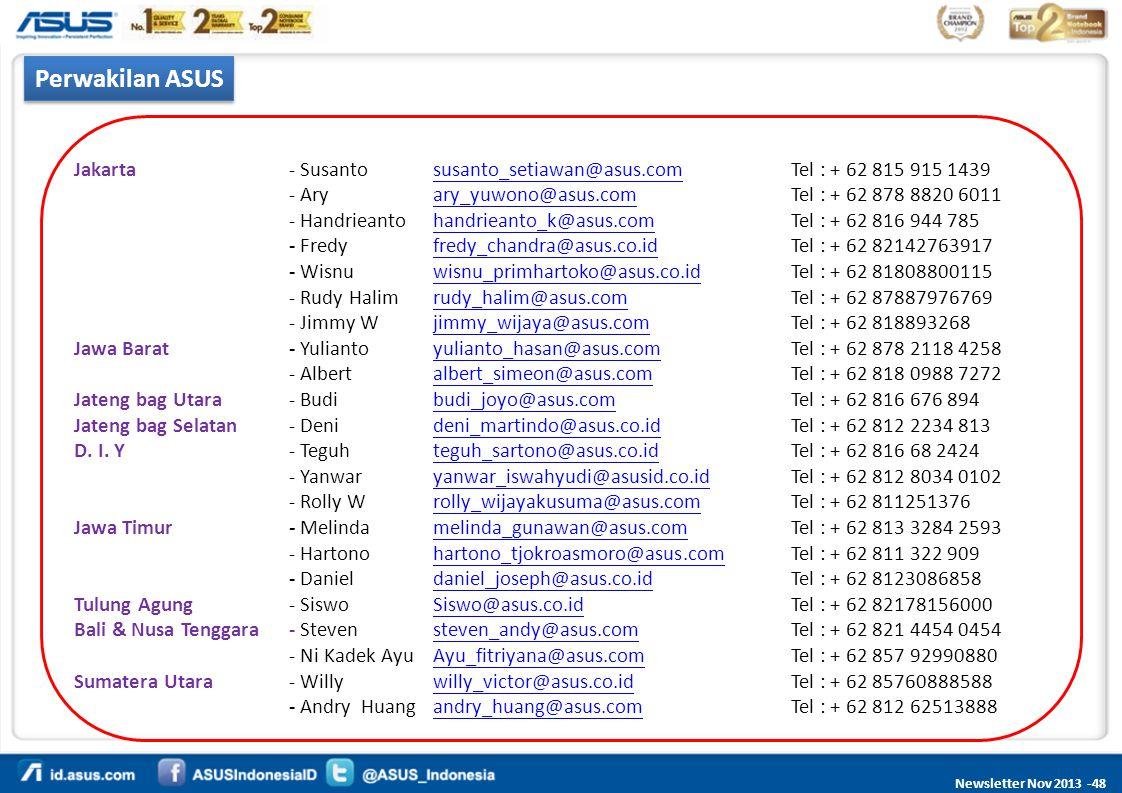 Perwakilan ASUS Jakarta - Susanto susanto_setiawan@asus.com Tel : + 62 815 915 1439.