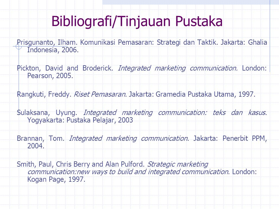 Bibliografi/Tinjauan Pustaka