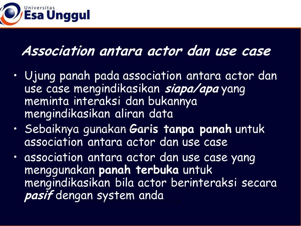 Association antara actor dan use case