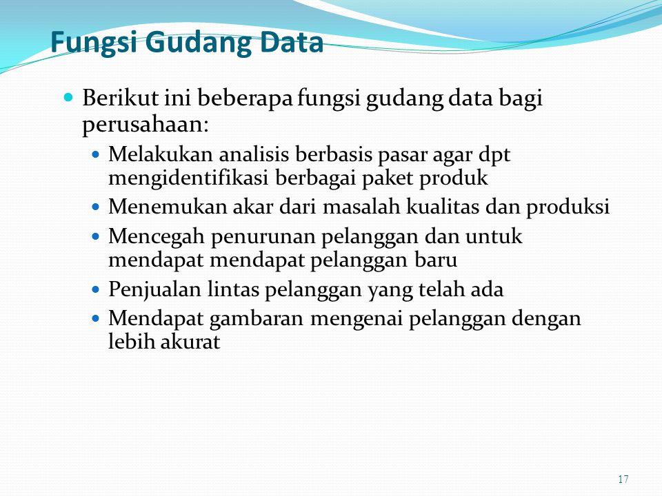Fungsi Gudang Data Berikut ini beberapa fungsi gudang data bagi perusahaan: