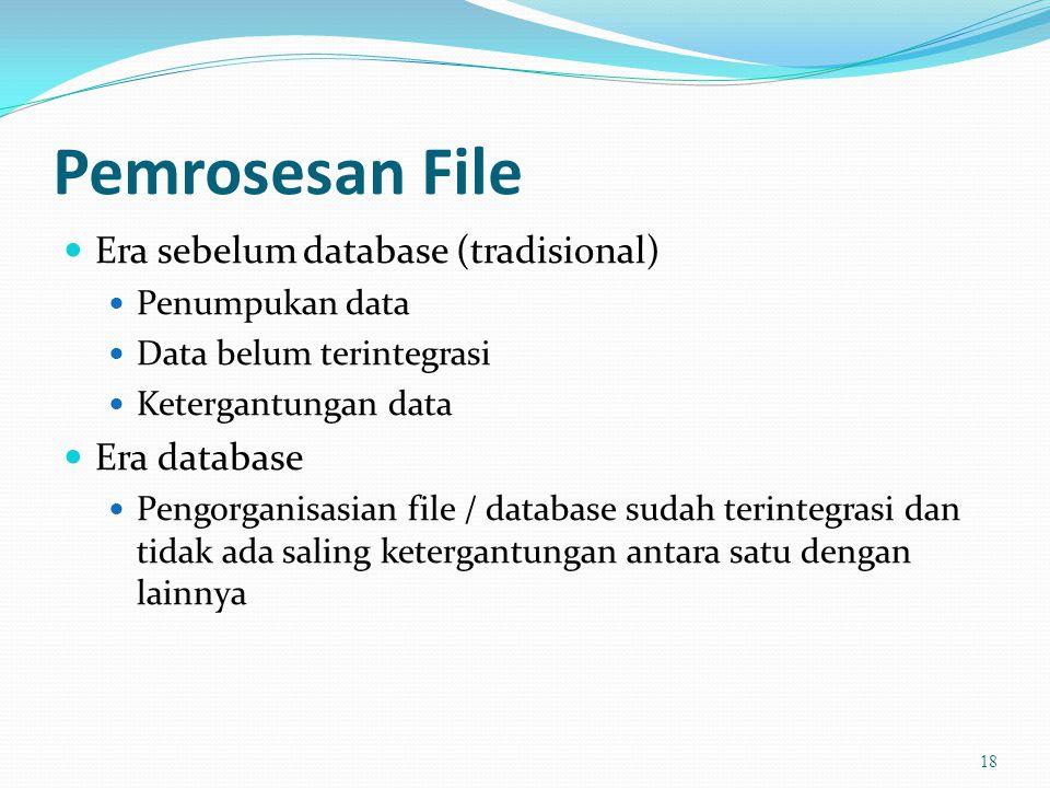 Pemrosesan File Era sebelum database (tradisional) Era database