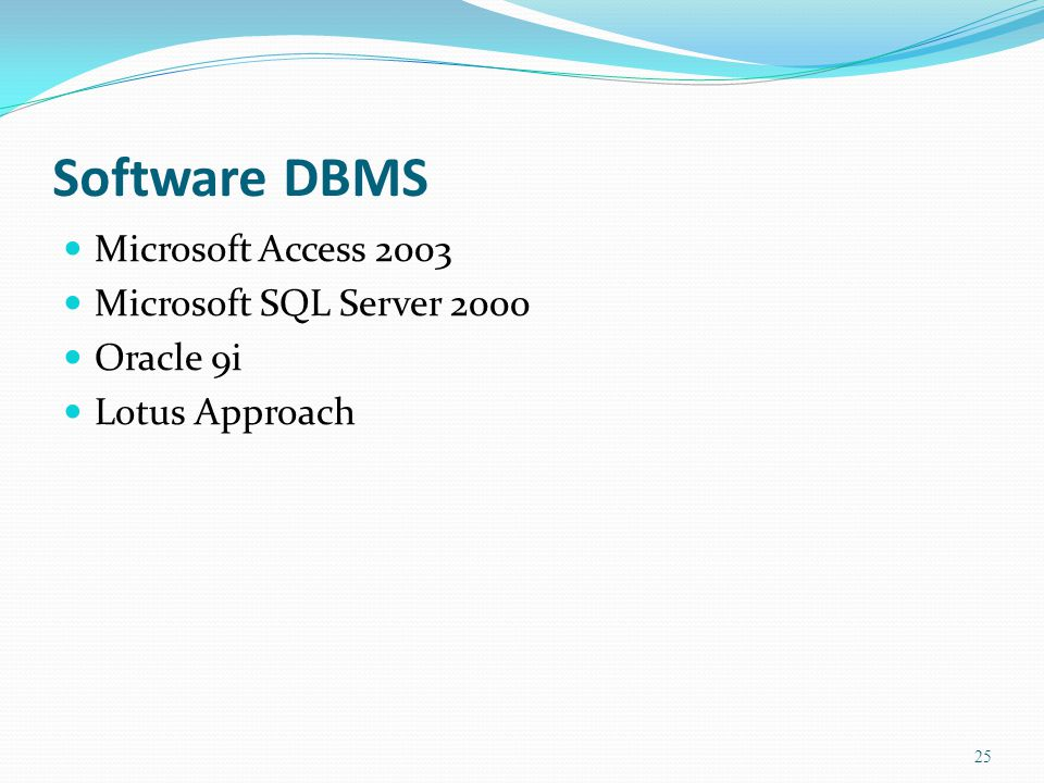 Software DBMS Microsoft Access 2003 Microsoft SQL Server 2000