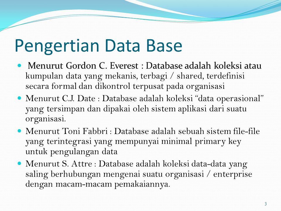 Pengertian Data Base