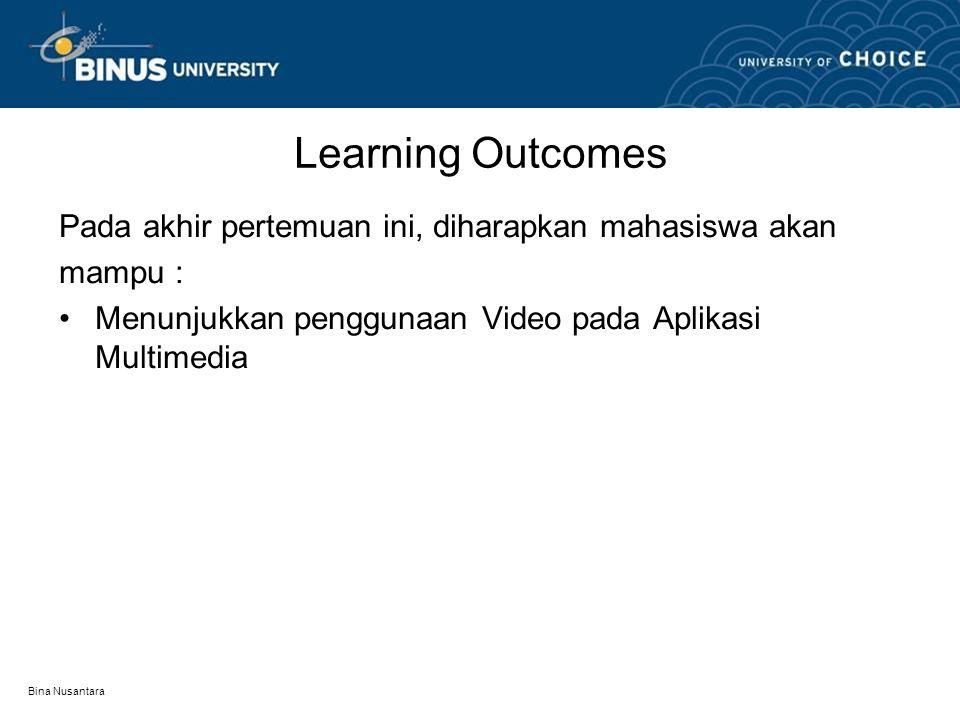 Learning Outcomes Pada akhir pertemuan ini, diharapkan mahasiswa akan