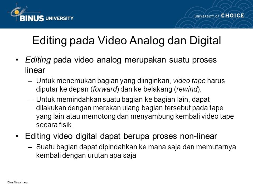 Editing pada Video Analog dan Digital