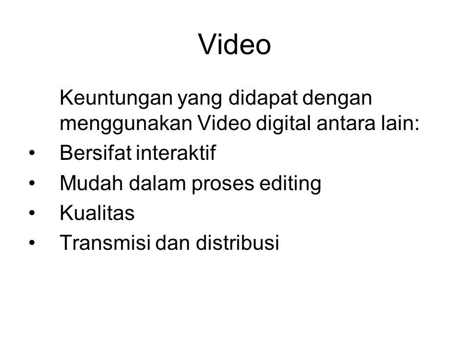 Video Keuntungan yang didapat dengan menggunakan Video digital antara lain: Bersifat interaktif. Mudah dalam proses editing.