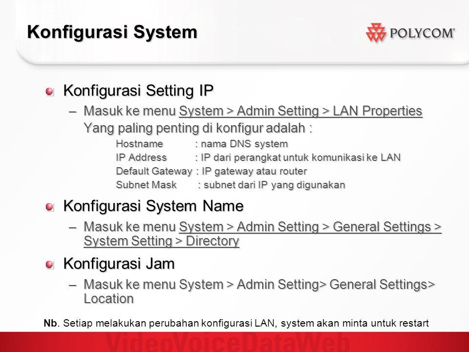 Konfigurasi System Konfigurasi Setting IP Konfigurasi System Name