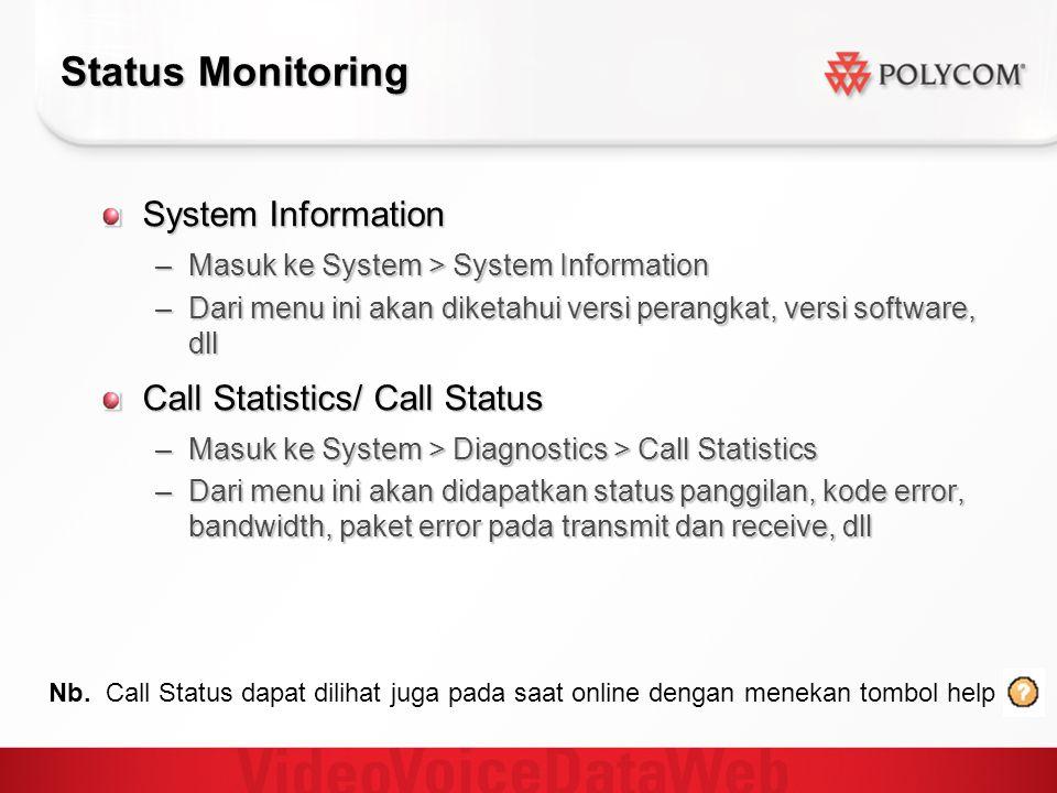 Status Monitoring System Information Call Statistics/ Call Status