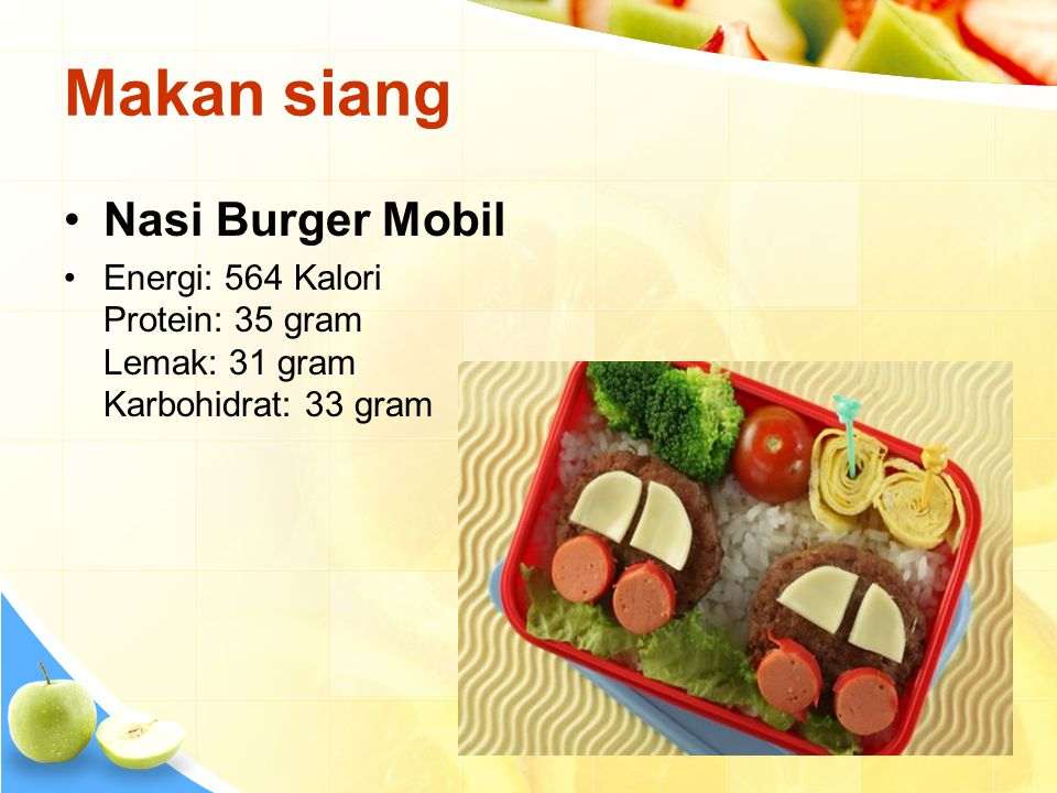 Makan siang Nasi Burger Mobil