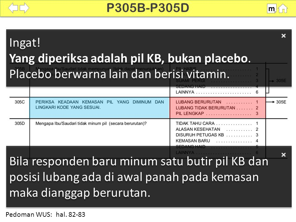 P305B-P305D m. SDKI 2012. 100% Ingat! Yang diperiksa adalah pil KB, bukan placebo. Placebo berwarna lain dan berisi vitamin.