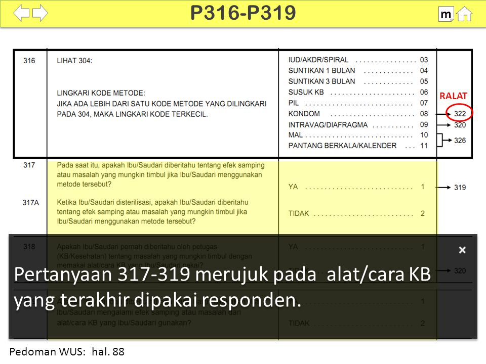 P316-P319 m. SDKI 2012. 100% RALAT. Pertanyaan 317-319 merujuk pada alat/cara KB yang terakhir dipakai responden.