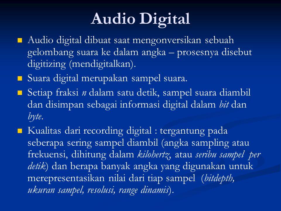 Audio Digital Audio digital dibuat saat mengonversikan sebuah gelombang suara ke dalam angka – prosesnya disebut digitizing (mendigitalkan).