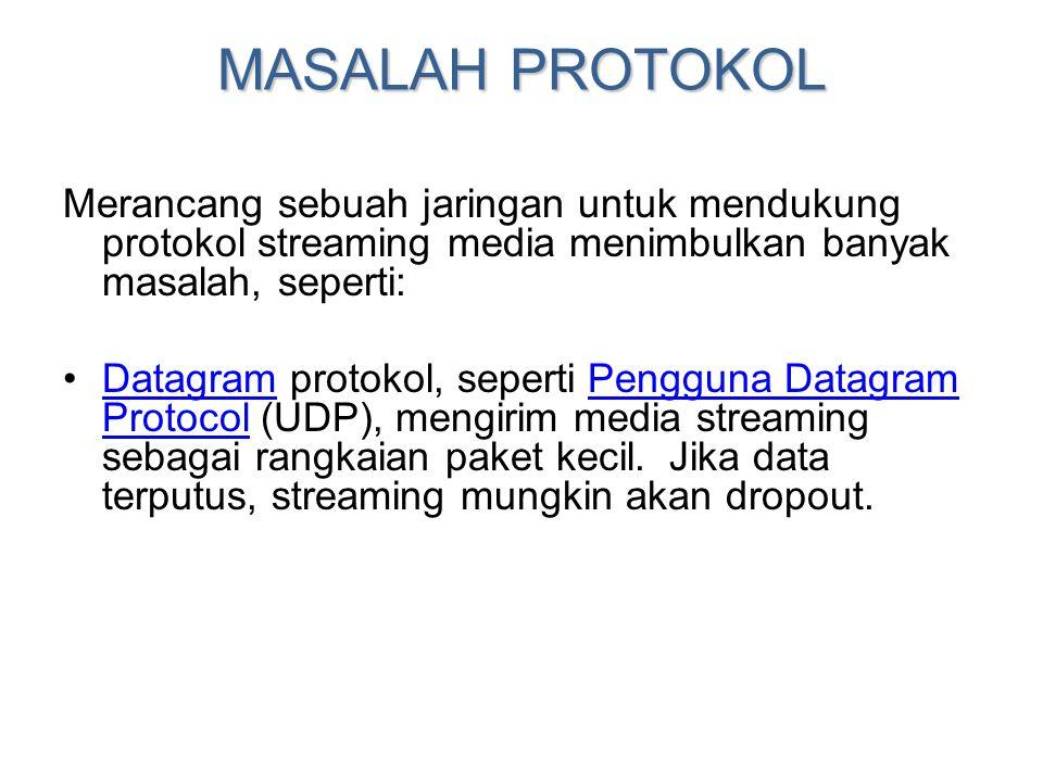 MASALAH PROTOKOL Merancang sebuah jaringan untuk mendukung protokol streaming media menimbulkan banyak masalah, seperti: