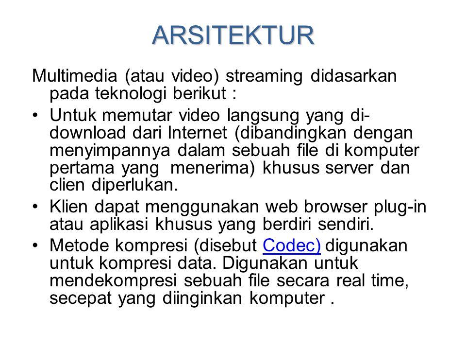 ARSITEKTUR Multimedia (atau video) streaming didasarkan pada teknologi berikut :