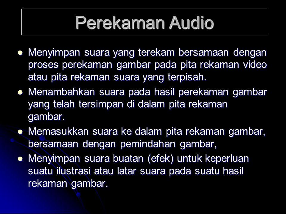 Perekaman Audio Menyimpan suara yang terekam bersamaan dengan proses perekaman gambar pada pita rekaman video atau pita rekaman suara yang terpisah.
