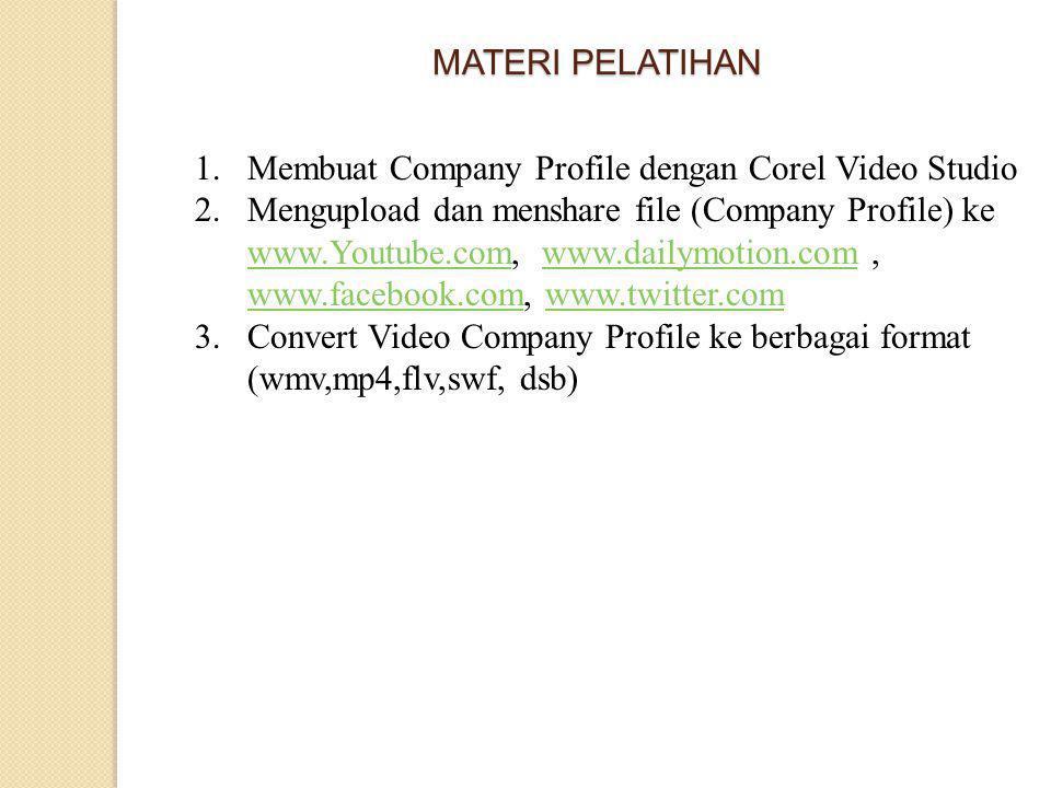 MATERI PELATIHAN Membuat Company Profile dengan Corel Video Studio.