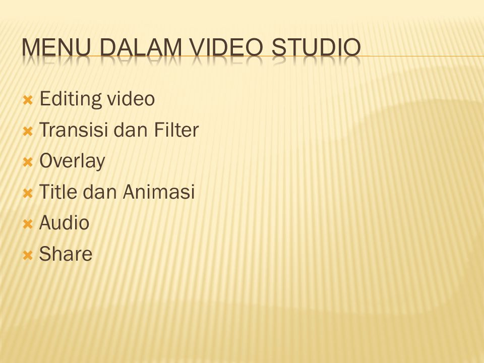 Menu dalam video studio