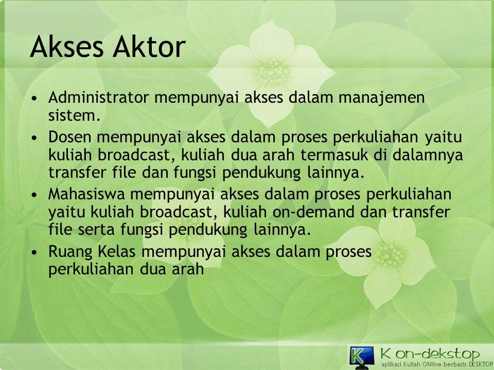 Akses Aktor Administrator mempunyai akses dalam manajemen sistem.