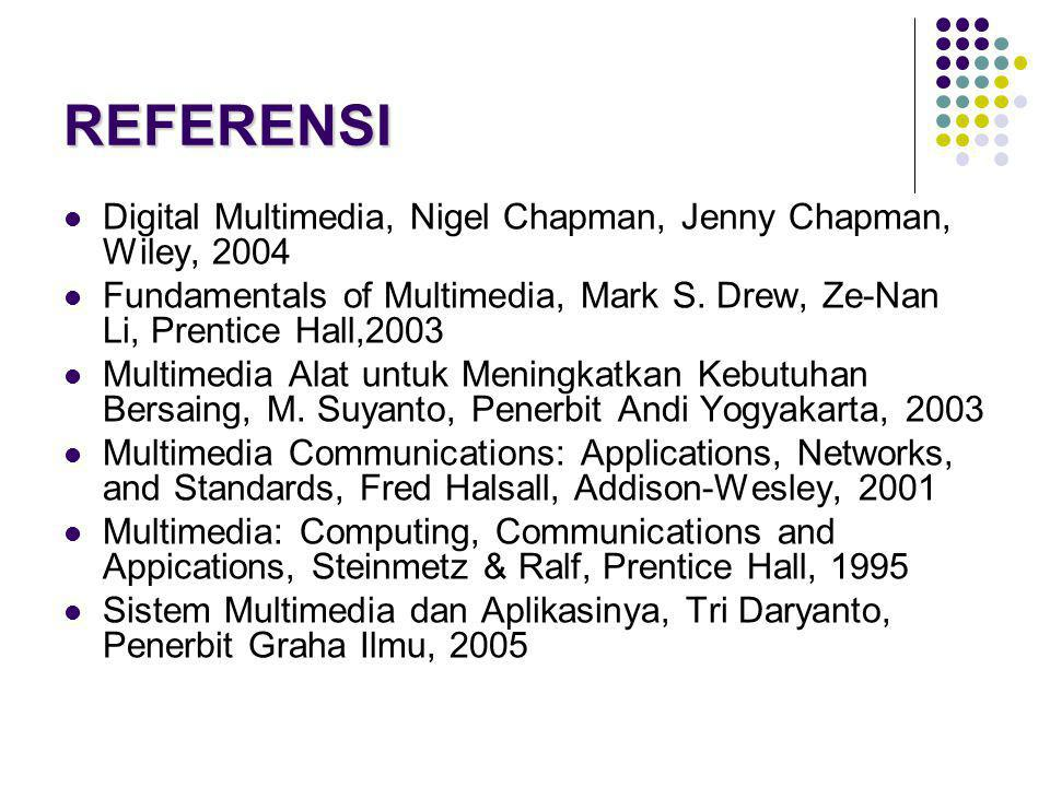 REFERENSI Digital Multimedia, Nigel Chapman, Jenny Chapman, Wiley, Fundamentals of Multimedia, Mark S. Drew, Ze-Nan Li, Prentice Hall,2003.