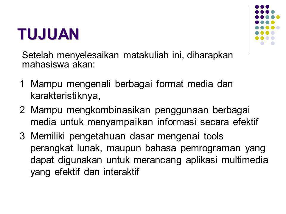TUJUAN 1 Mampu mengenali berbagai format media dan karakteristiknya,