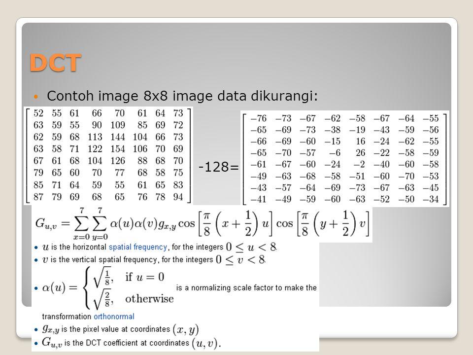DCT Contoh image 8x8 image data dikurangi: -128=