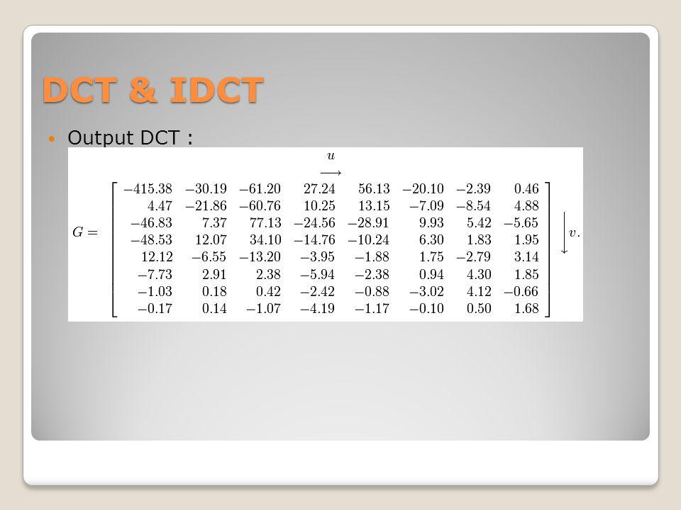 DCT & IDCT Output DCT :