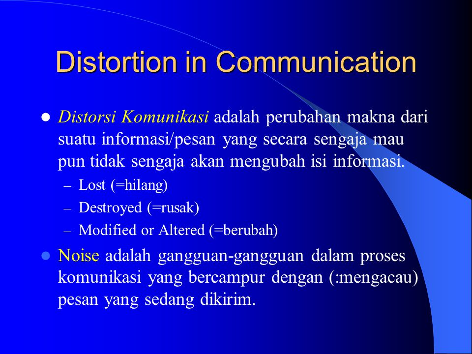 Distortion in Communication