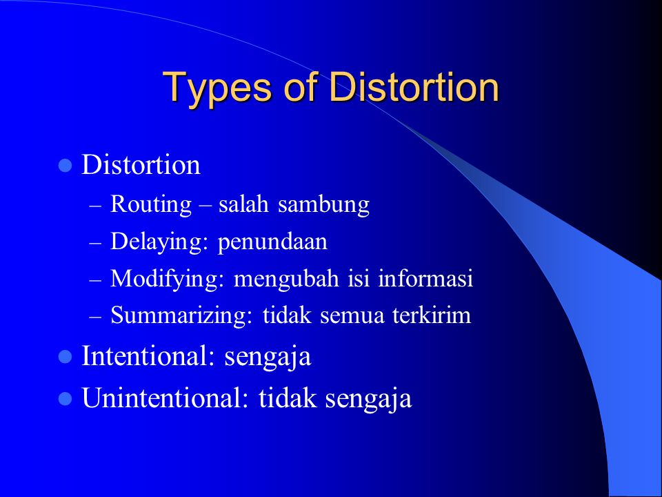 Types of Distortion Distortion Intentional: sengaja
