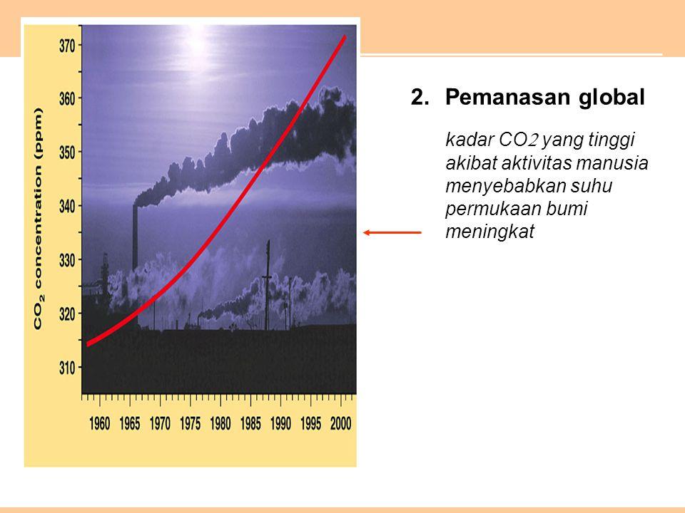 Pemanasan global kadar CO yang tinggi akibat aktivitas manusia menyebabkan suhu permukaan bumi meningkat.