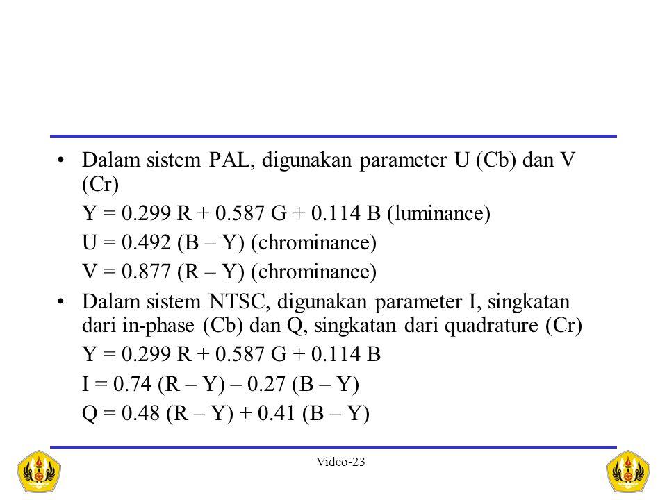 Dalam sistem PAL, digunakan parameter U (Cb) dan V (Cr)