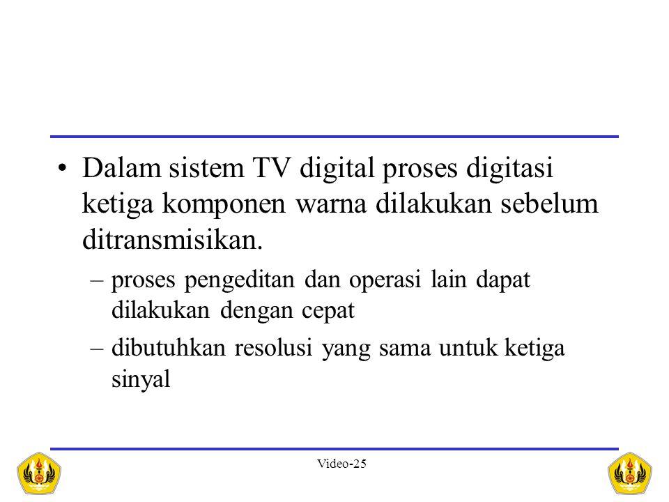 Dalam sistem TV digital proses digitasi ketiga komponen warna dilakukan sebelum ditransmisikan.