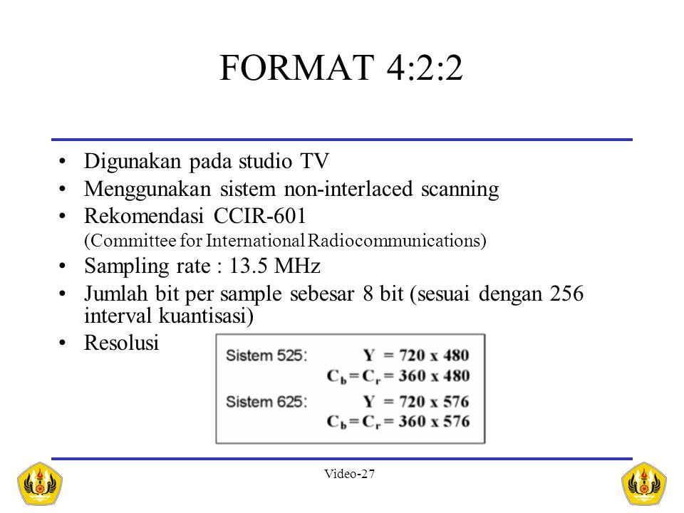 FORMAT 4:2:2 Digunakan pada studio TV