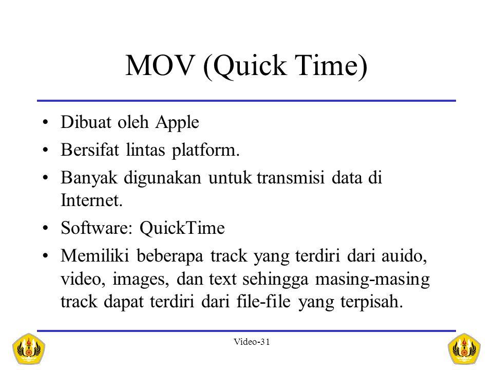 MOV (Quick Time) Dibuat oleh Apple Bersifat lintas platform.
